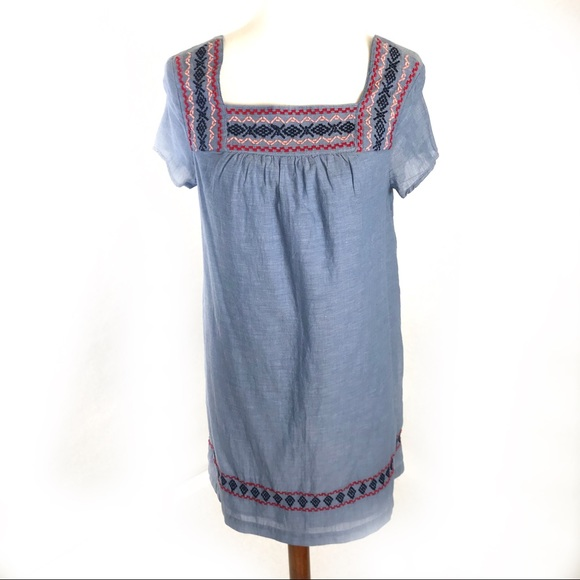033e2bf47d Beach Lunch Lounge Chambray Shift Dress Embroidery
